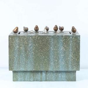 18 in. H Stone and Patina Rectangular Cascade Fountain with LED Lights and Bronze Birds