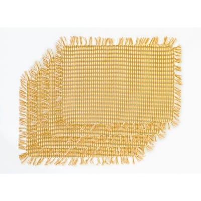 Homespun Fringed Gold 100% Cotton Placemat (Set of 4)