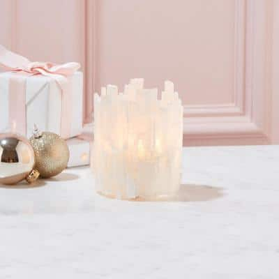 Selenite Translucent White Candle Holder with Glass Insert