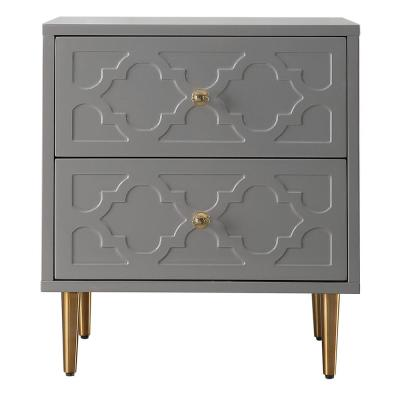 High Gloss 2-Drawers Gray Pattern Nightstand Accent Storage Cabinet