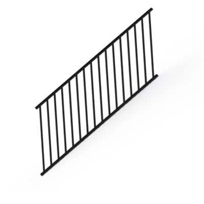 Satin Black 36 in. Aluminum Stair Panel Rail Kit with Square Balusters and Brackets