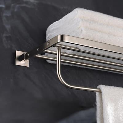 Aura Bathroom Towel Rack with Towel Bar in Brushed Nickel
