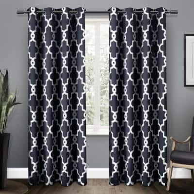 Peacoat Blue Trellis Thermal Blackout Curtain - 52 in. W x 84 in. L (Set of 2)
