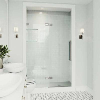 Powell 47-1/4 to 48-3/4 in. x 74 in. Frameless Hinged Shower Door in Stainless Steel with Clear Glass and Handle