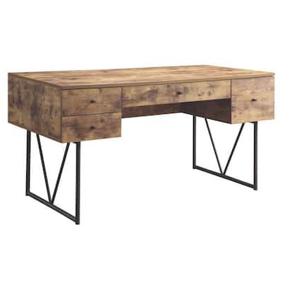 Antique Nutmeg Barritt 4-Drawer Home Office Writing Desk