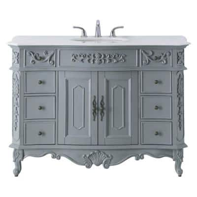 Winslow 48 in. W x 22 in. D Bath Vanity in Antique Gray with Vanity Top in White Marble with White Basin