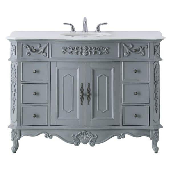 Home Decorators Collection Winslow 48 In W X 22 In D Bath Vanity In Antique Gray With Vanity Top In White Marble With White Basin Bf 27003 Ag The Home Depot