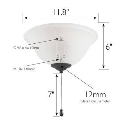 3-Light Oil Rubbed Bronze Ceiling Fan LED Bowl Light Kit