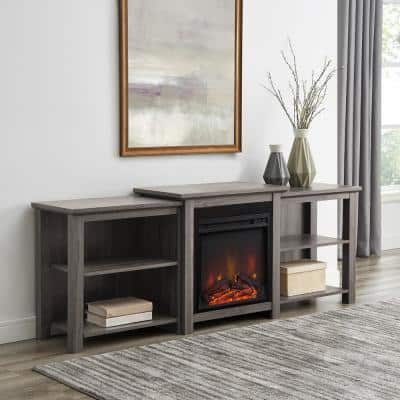 70 in. Slate Gray Composite TV Stand Fits TVs Up to 78 in. with Electric Fireplace