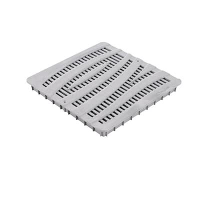 12 in. Square Catch Basin Drain Grate, Decorative Wave Design, Gray Plastic