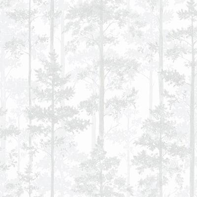 Pine Off-White Silhouette Trees Off-White Wallpaper Sample