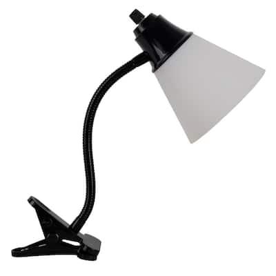 Gene 15 in. Black Gooseneck Clip-On Desk Lamp