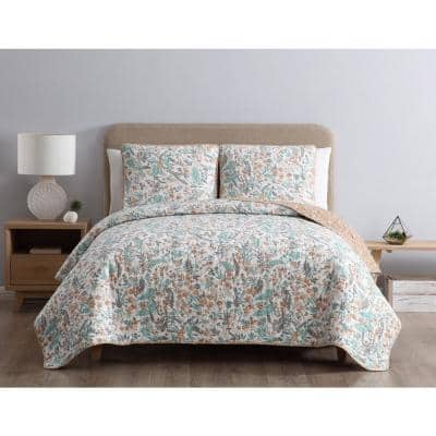 Gertrude Reversible Blue Floral Twin Quilt Set,