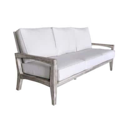 Surf Side Collection 3-Person Teak Outdoor Sofa with Sand Cushions