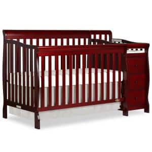 Brody Cherry 5-in-1 Convertible Crib with Changer