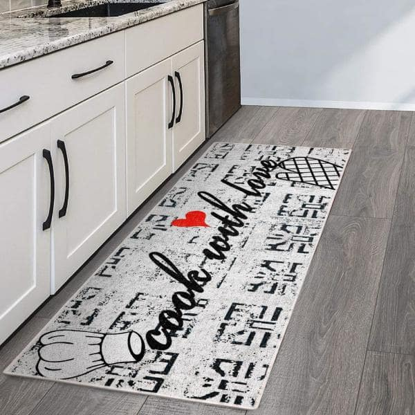 Sussexhome Border Design Gray Black Red 20 In X 59 Cotton Kitchen Runner Mat Ktc 2a 2x5 The Home Depot