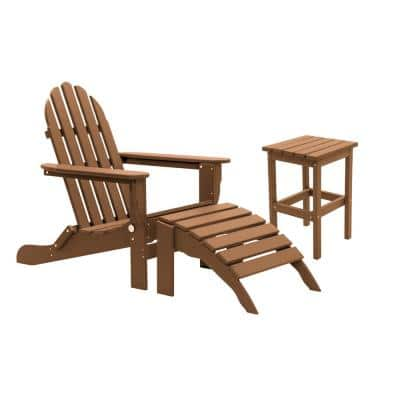 Icon Teak Recycled Folding Plastic Adirondack Chair (3-Piece)