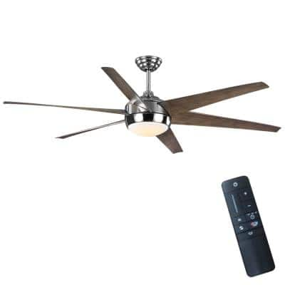 Windward 68 in. Color Changing Integrated LED Indoor/Outdoor Polished Nickel Ceiling Fan with Light and Remote Control