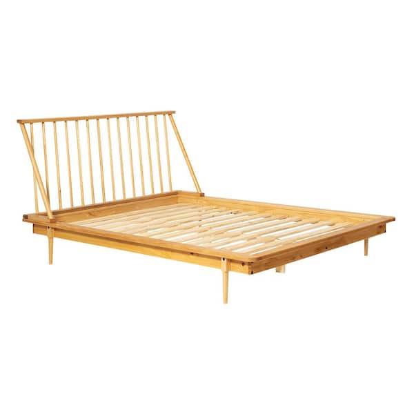 Walker Edison Furniture Company Modern Wood Light Oak Queen Spindle Bed | The Home Depot