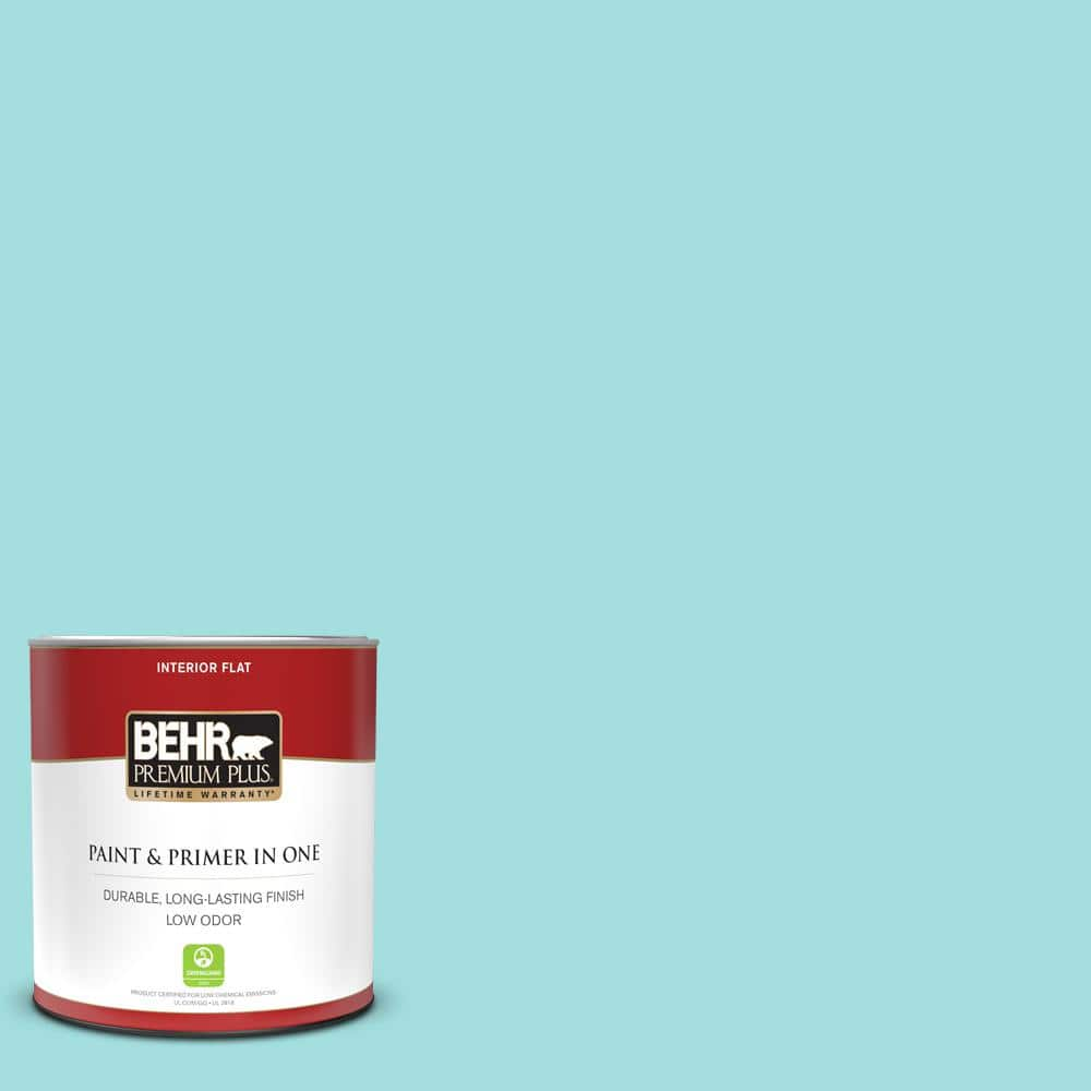 Behr Premium Plus 1 Qt Ce 02 Mermaid Tears Flat Low Odor Interior Paint And Primer In One 105004 The Home Depot