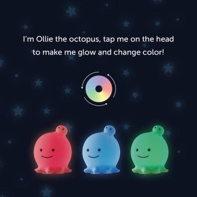 Ollie Octopus Multi-Color Changing Integrated LED Rechargeable Silicone Night Light Lamp, White