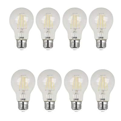 40W Equivalent Soft White (2700K) A19 Filament LED Clear Glass Light Bulb (8-Pack)