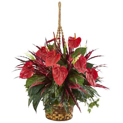 Mixed Anthurium Hanging Basket Artificial Plant