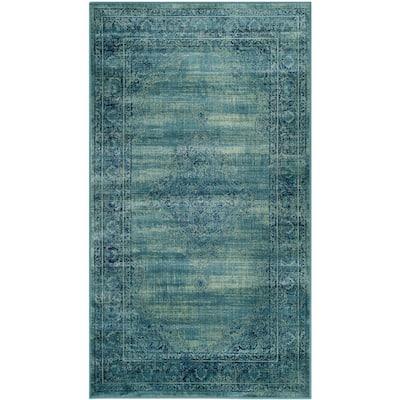 Vintage Turquoise/Multi 4 ft. x 6 ft. Floral Border Medallion Area Rug