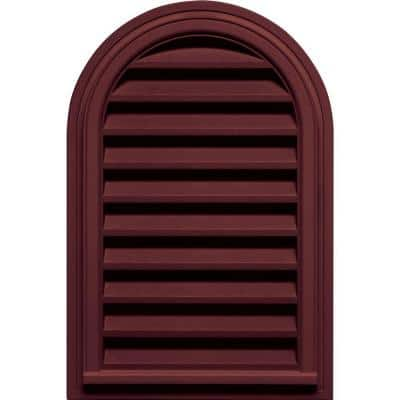 22 in. x 32 in. Round Top Plastic Built-in Screen Gable Louver Vent #078 Wineberry