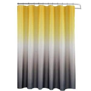 Ombre Yellow/Grey 70 in. x 72 in. Texture Printed Shower Curtain Set with Beaded Rings