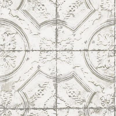 Newport Tin Tile Whites & Off-Whites Wallpaper Sample