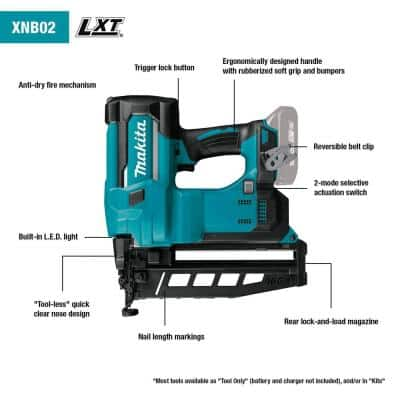2-1/2 in. 18-Volt 16-Gauge LXT Lithium-Ion Cordless Straight Finish Nailer Kit (2.0 Ah)