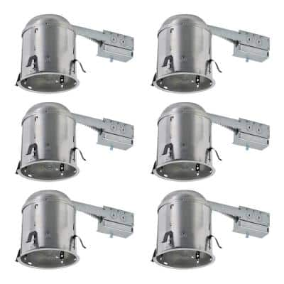 H7 6 in. Aluminum Recessed Lighting Housing for Remodel Ceiling, Insulation Contact (6-Pack)