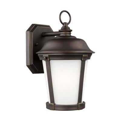 Calder 1-Light Antique Bronze Outdoor 12.25 in. Wall Lantern Sconce