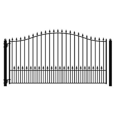 Munich Style 16 ft. x 6 ft. Black Steel Single Swing Driveway Fence Gate