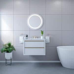 Padova 24 in. W x 24 in. H Frameless Round LED Bathroom Vanity Mirror in Clear