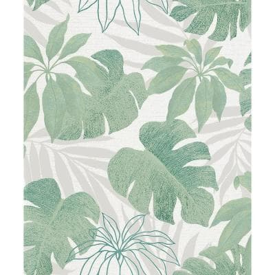 Nona Green Tropical Leaves Strippable Wallpaper Covers 57.5 sq. ft.