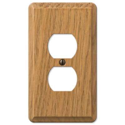 Contemporary 1 Gang Duplex Wood Wall Plate - Light Oak