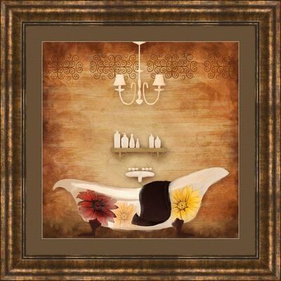 """17-1/4 in. x 17-1/4 in. """"Poppy Bath A"""" Framed Wall Art"""
