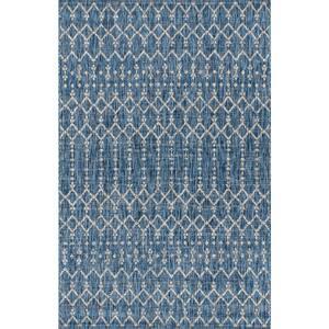 Ourika Moroccan Navy/Light Gray 3 ft. 11 in. x 6 ft. Geometric Textured Weave Indoor/Outdoor Area Rug