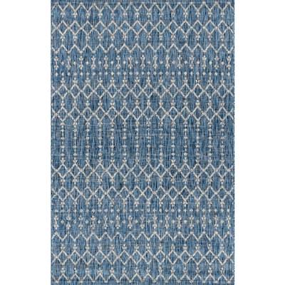 Ourika Moroccan Navy/Light Gray 7 ft. 9 in. x 10 ft. Geometric Textured Weave Indoor/Outdoor Area Rug
