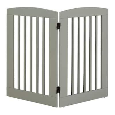 Ruffluv 36 in. H Wood 2-Panel Expansion Grey Pet Gate