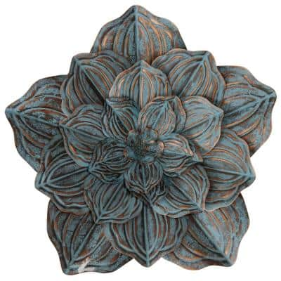 Transitional Bronze, Weathered Blue Metal Wall Sculpture