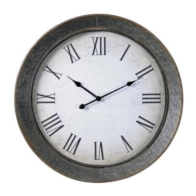 Antillean 30 in. Galvanized Metal Wall Clock with Roman Numerals