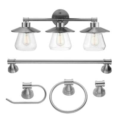 Nate 3-Light Brushed Steel Vanity Light With Clear Glass Shades and Bath Set
