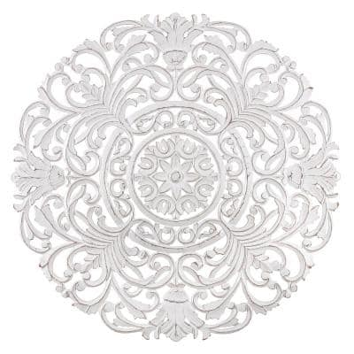 Frasso 35.5 in. x 35.5 in. White Medallion Wooden Wall Art/ Sculptures