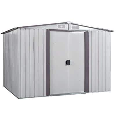 8.4 ft. W x 8.4 ft. D White and Gray Outdoor Metal Storage Shed Garden Tool Storage with Sliding Door (70.56 sq. ft.)