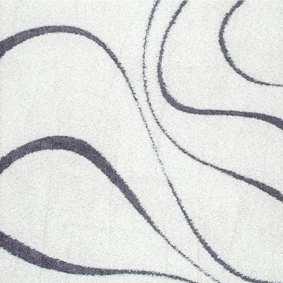 Carolyn Contemporary Curves Shag White 6 ft. Square Rug