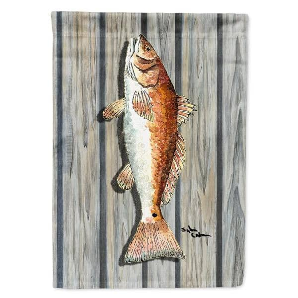 Caroline S Treasures 11 In X 15 1 2 In Polyester Fish Red Fish Garden Flag 2 Sided 2 Ply 8489gf The Home Depot