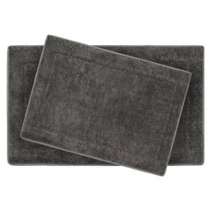 Terry Dark Gray 20 in. x 32 in Microfiber Memory Foam. 2-Piece Set Bath Mat Set